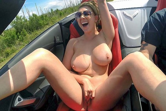 big tity naked girl in fast cars