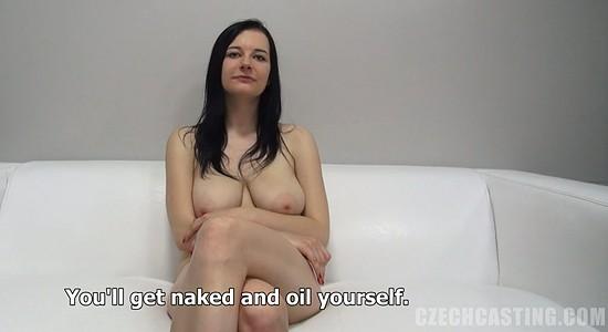 Busty Jana oils her boobs at Czech Casting